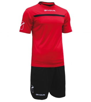 Kit One Calcio GIVOVA Uomo Sport Uomo Bambino Abbigliamento Sportivo Calcistico GIOSAL-Rosso/Nero-3XS