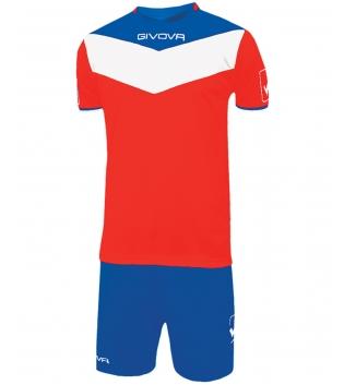 Kit Calcio GIVOVA Campo Completino Football Sport Sportivo Uomo Bambino GIOSAL-Rosso/Azzurro-3XS