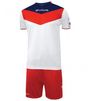 Kit Calcio GIVOVA Campo Completino Football Sport Sportivo Uomo Bambino GIOSAL-Rosso/Bianco-4XS
