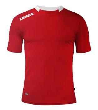 Maglia Sport Calcio LEGEA Monaco Manica Corta Tinta Unita Abbigliamento Sportivo GIOSAL-Rosso-Bianco-XS