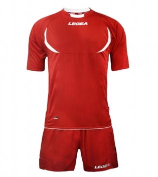Kit LEGEA Calcio Stoccolma Completo Sportivo Sport Abbigliamento GIOSAL-Rosso-Bianco-S