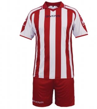 Kit Supporter Calcio Sport GIVOVA Abbigliamento Sportivo Uomo Calcistico GIOSAL-Rosso/Bianco-M