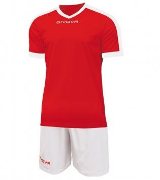 Kit Revolution Calcio Sport GIVOVA Abbigliamento Sportivo Uomo Calcistico GIOSAL-Rosso/Bianco-4XS