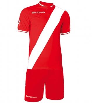 Kit Plate Calcio Sport GIVOVA Abbigliamento Sportivo Calcistico Uomo GIOSAL-Rosso/Bianco-M