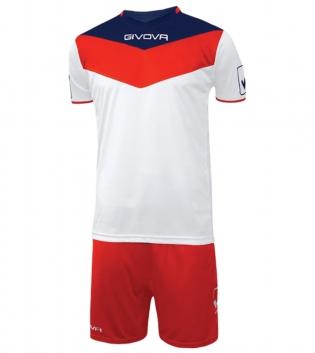 Kit Calcio GIVOVA Campo Completino Football Sport Sportivo Uomo Bambino GIOSAL-Rosso/Bianco-3XS