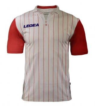 Maglia Uomo Calcio Sport LEGEA Lisbona Abbigliamento Sportivo GIOSAL-Bianco-Rosso-S
