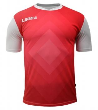 Maglia Calcio Sport LEGEA Norimberga Manica Corta Abbigliamento Sportivo GIOSAL-Rosso-Bianco-S