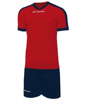 Kit Revolution Calcio Sport GIVOVA Abbigliamento Sportivo Uomo Calcistico GIOSAL-Rosso/Blu-4XS
