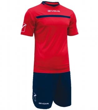 Kit One Calcio GIVOVA Uomo Sport Uomo Bambino Abbigliamento Sportivo Calcistico GIOSAL-Rosso/Blu-4XS