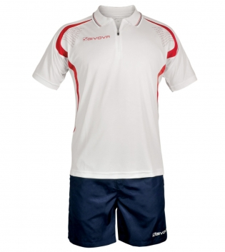 Completo Tuta Givova Kit Easy Polo Pantaloncini Uomo Bambino Team GIOSAL-Rosso/Blu-XS