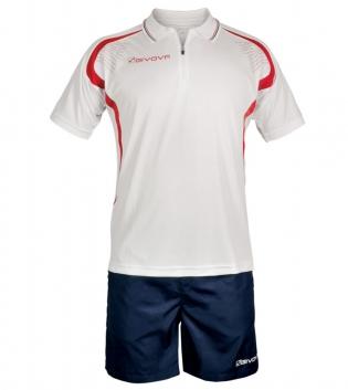 Completo Tuta Givova New Kit Easy Polo Pantaloncini Uomo Bambino GIOSAL-Rosso/Blu-XS