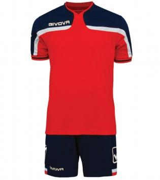 Kit Uomo Sport Calcio GIVOVA America Completino Calcetto GIOSAL-Rosso/Blu-4XS