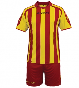 Kit Supporter Calcio Sport GIVOVA Abbigliamento Sportivo Uomo Calcistico GIOSAL-Rosso/Giallo-M