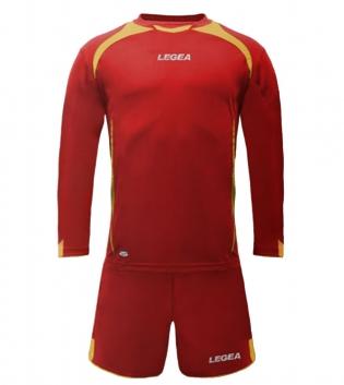 Kit Uomo Sport Calcio LEGEA Firenze Uomo Bambino Completino Sportivo Calcetto GIOSAL-Rosso-Giallo-XS