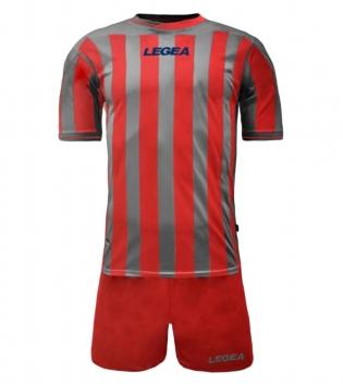 Kit Uomo LEGEA Calcio Salonicco Righe Uomo Bambino Calcetto GIOSAL-Rosso-Grigio-2XS