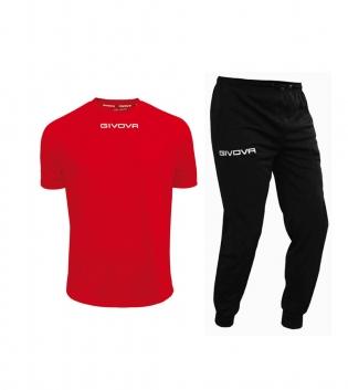 Outfit Givova Uomo Donna Bambino Completo Tuta T-Shirt Pantalone Givova One Rosso Nero GIOSAL