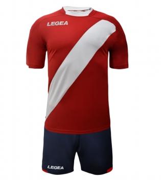 Kit Completo Calcio Uomo LEGEA Lima Abbigliamento Sportivo Sport GIOSAL-Rosso-Bianco-M