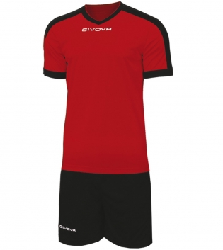 Kit Revolution Calcio Sport GIVOVA Abbigliamento Sportivo Uomo Calcistico GIOSAL-Rosso/Nero-4XS