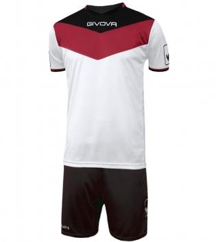 Kit Calcio GIVOVA Campo Completino Football Sport Sportivo Uomo Bambino GIOSAL-Rosso/Nero-3XS