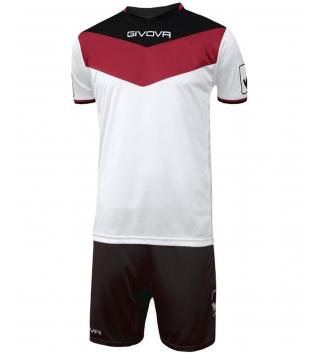 Kit Calcio GIVOVA Campo Completino Football Sport Sportivo Uomo Bambino GIOSAL-Rosso/Nero-4XS