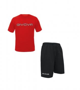 Completo Outfit Tuta GIVOVA Rosso Nero Bermuda Friend T-Shirt Spot Bambino Uomo Donna GIOSAL