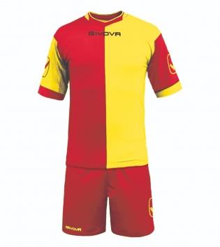 Kit Combo GIVOVA Completino Calcio Sport Sportivo Calcetto GIOSAL-Rosso/Giallo-M