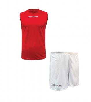 Outfit Givova Rosso Bianco Completo Bermuda Givova One Shirt Smanicato Donna Uomo Unisex GIOSAL
