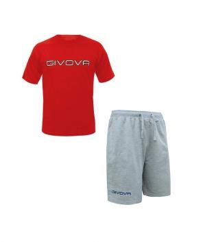 Completo Outfit Tuta GIVOVA Bermuda Friend T-Shirt Spot Rosso Grigio Uomo Donna Bambino GIOSAL-Rosso-Grigio-XS