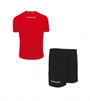 Outfit Givova Completo Pantaloncini T-Shirt Givova One Rosso Nero Uomo Donna Bambino GIOSAL