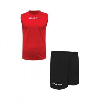 Outfit Givova Completo Rosso Nero Bermuda Givova One Shirt Smanicato Donna Uomo Unisex GIOSAL