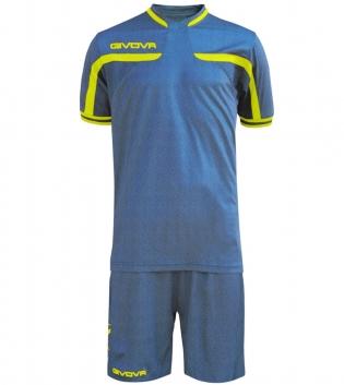 Kit Uomo Sport Calcio GIVOVA America Jeans Completino Calcetto GIOSAL-RoyalJeans-GialloFluo-M