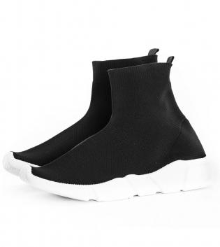 Scarpe Uomo Sneakers Tessuto Shoes Tinta Unita Nero Casual GIOSAL