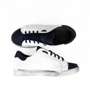 Scarpe Uomo Sneakers Basse Pitonato Scamosciato Bicolore Blu Bianco Casual GIOSAL