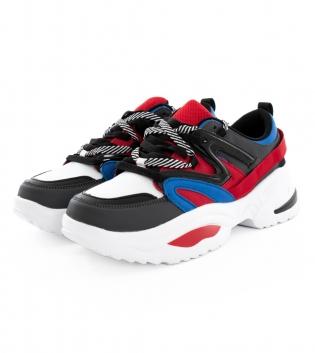 Scarpe Uomo Sneakers Sportive Nere Multicolore Con Lacci Calzature Casual GIOSAL