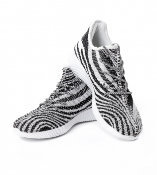 Scarpe Uomo Sneakers Sportive  Grigio Bianco Tessuto Traforato Casual GIOSAL