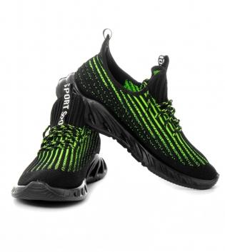 Scarpe Uomo Sneakers Sportive Verde Nero Tessuto Traforato Casual GIOSAL