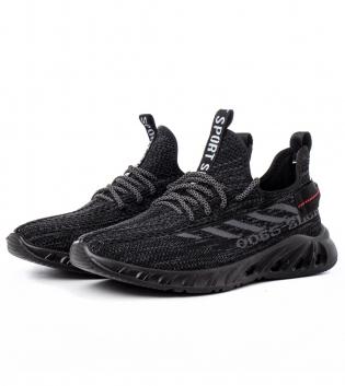 Scarpe Uomo Sneakers Sportive  Nero Tessuto Traforato Casual GIOSAL