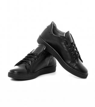 Scarpe Uomo Sneakers Shoes Ginnastica Tinta Unita Nere Con Lacci Casual GIOSAL