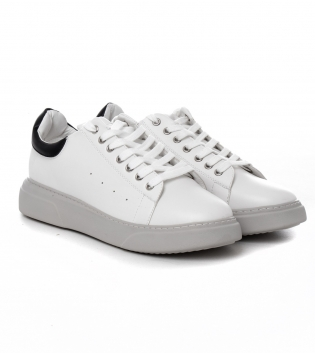 Scarpe Uomo Sneakers Sportive Tinta Unita Bianche Nere Shoes Calzature con Lacci GIOSAL