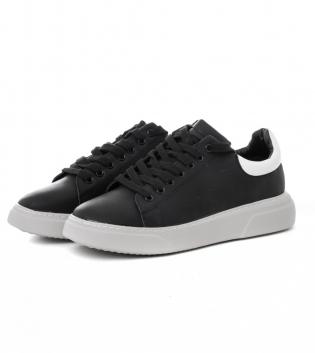 Scarpe Uomo Sneakers Sportive Tinta Unita Nere Bianche Shoes Calzature con Lacci GIOSAL