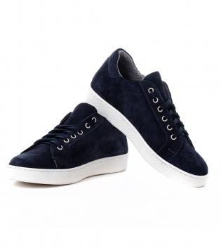 Scarpe Uomo Sneakers Sportive Tinta Unita Blu Camoscio Shoes Calzature con Lacci GIOSAL