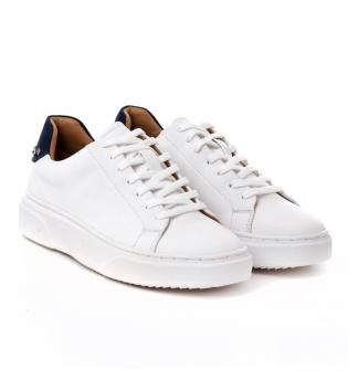 Scarpe Uomo Sneakers Sportive Tinta Unita Bianche Borchie Shoes Calzature con Lacci GIOSAL