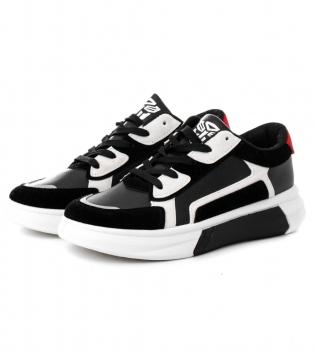 Scarpe Uomo Sneakers Sportive  Nere Bianche Rosse Shoes Calzature con Lacci GIOSAL