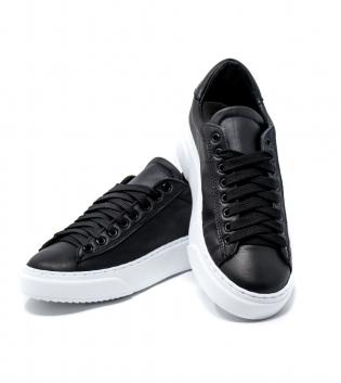 Scarpe Uomo Sneakers Tinta Unita Nere Uomo Casual GIOSAL
