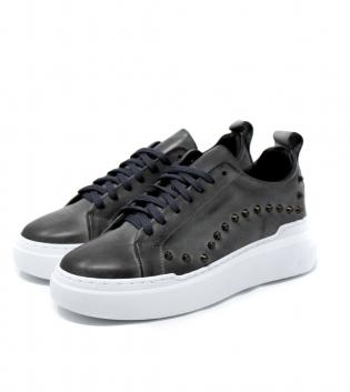 Scarpe Uomo Sneakers Tinta Unita Grigie Borchie Casual GIOSAL
