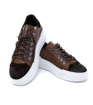 Scarpe Uomo Tinta Unitra Sneakers Marroe Clip Acciaio Casual GIOSAL-Marrone-40