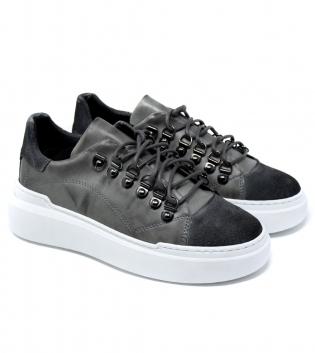 Scarpe Uomo Tinta Unita Sneakers  Grigio Clip Acciaio Casual GIOSAL