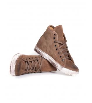 Sneakers Uomo Scarpe Alte Scamosciate Tinta Unita Camel Lacci Casual GIOSAL