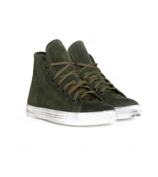 Sneakers Uomo Scarpe Alte Scamosciate Tinta Unita Verde Lacci Casual GIOSAL