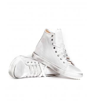 Sneakers Uomo Scarpe Alte Ecopelle Tinta Unita Bianche Lacci Casual GIOSAL
